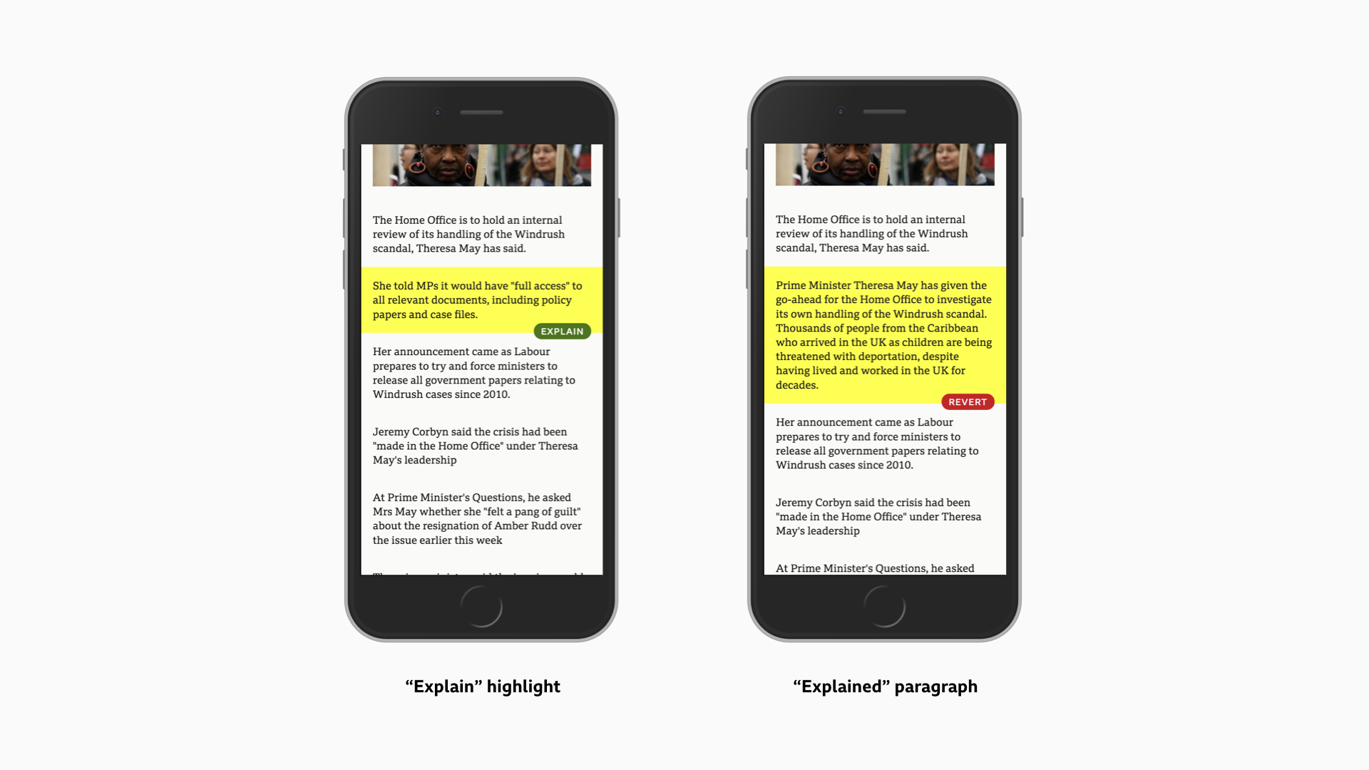 Screenshots of the Simplify prototype - a paragraph of a story is highlighted, and when it is tapped on, it expands to a longer paragraph with a longer description.