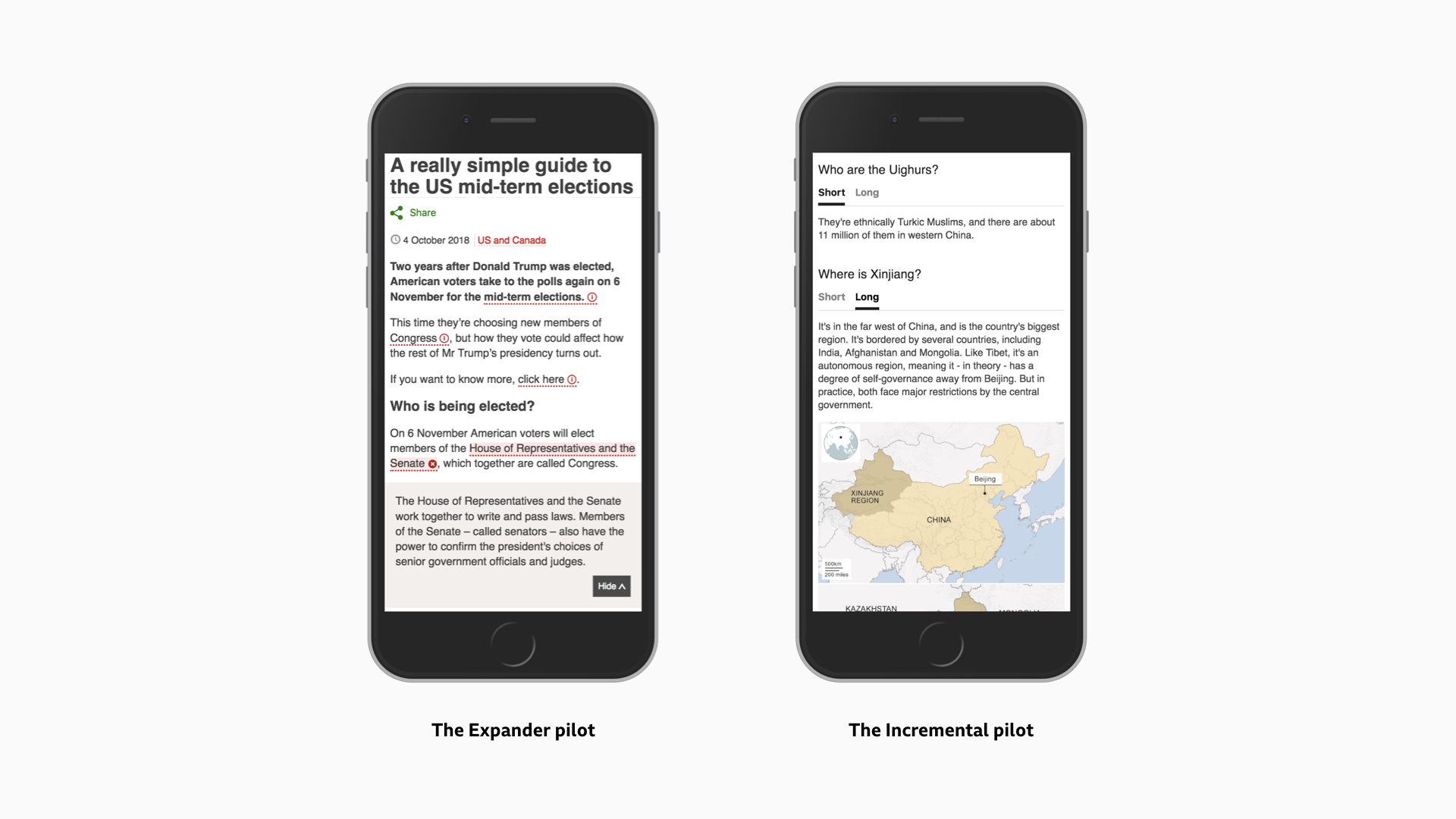 Screenshots showing the Expander and Incremental pilots on published BBC News articles.
