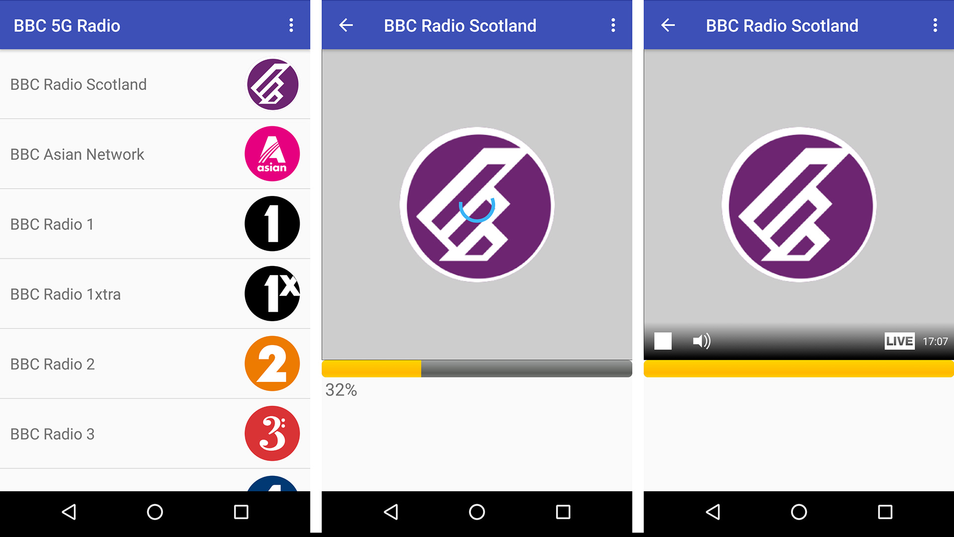 Screenshots of our 5G Radio app, playing the BBC Radio Scotland live streams.