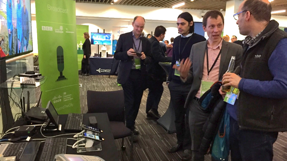 BBC R&D's display of smartphones using 5G at the In The City event.