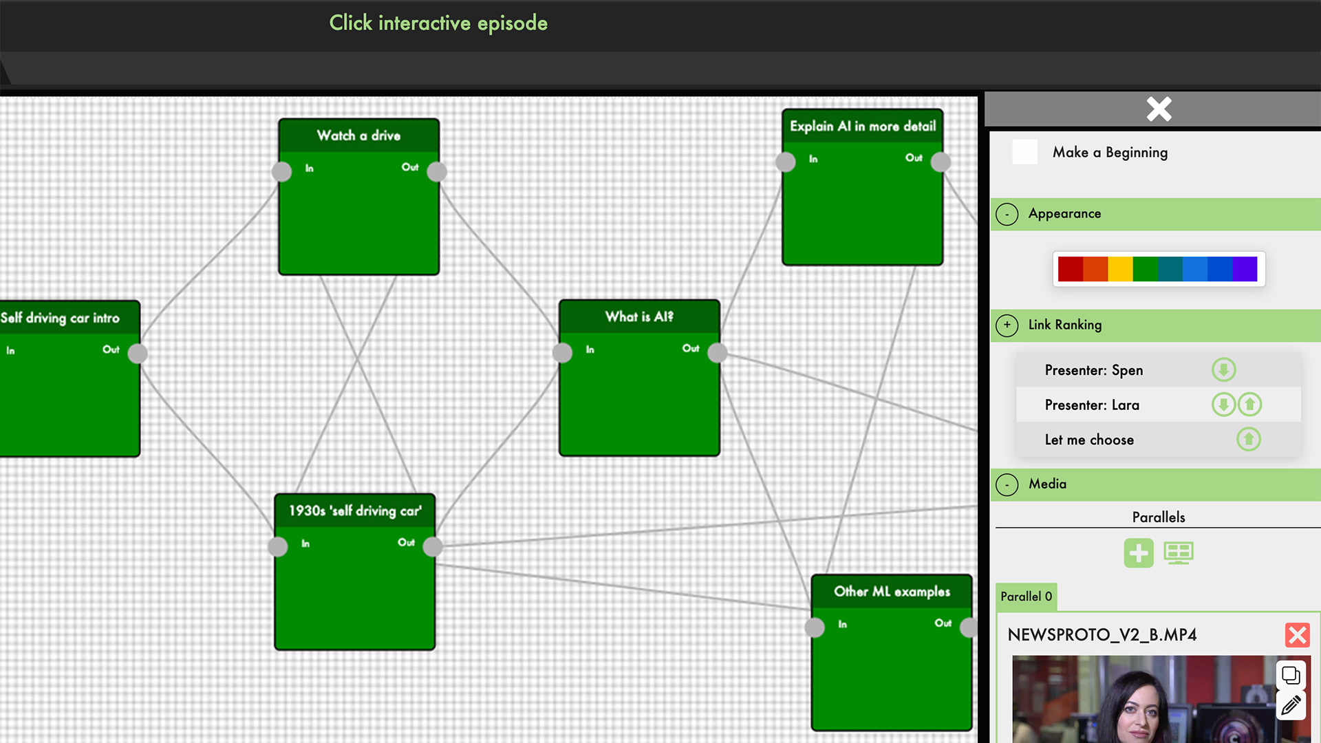 Screenshot showing an interactive episode of Click being built in the StoryFormer tool, with pieces of media linking together.
