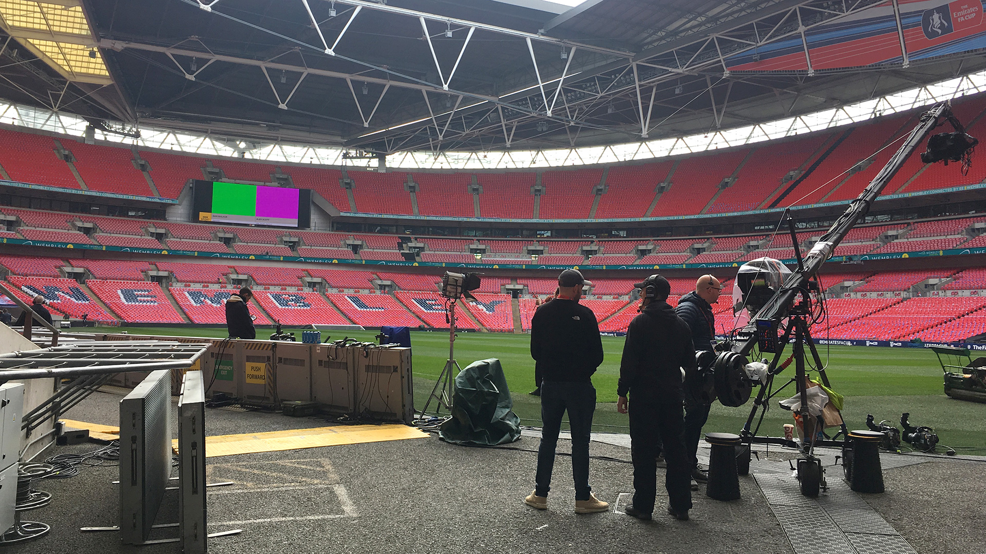 Setting up cameras in Wembley Stadium
