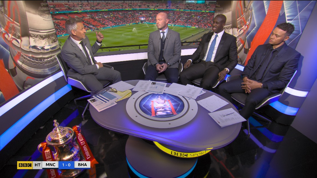 The BBC studio, with presenter and pundits during an update at the FA Cup final.