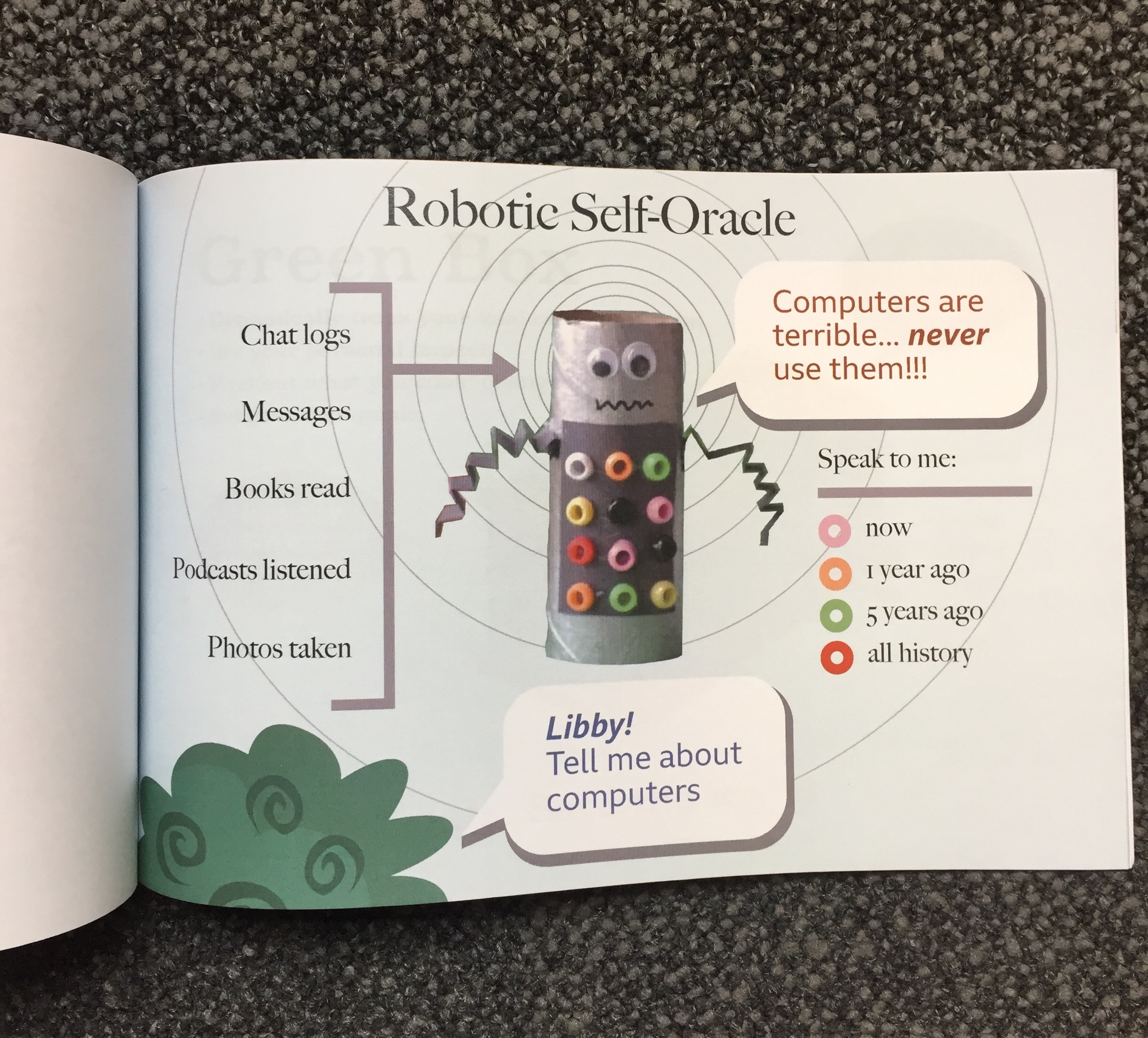 A photo of a book page illustrating robotic self-oracle