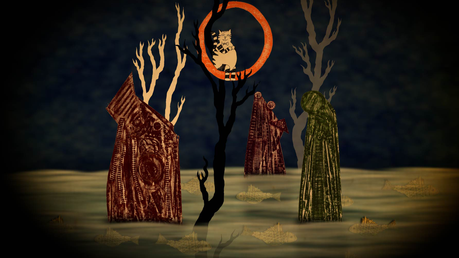 An hand drawn illustration for Decameron Nights - a cat is surrounded by an orange ring whilst sitting in a tree. The trees rise up out of misty green waters, filled with fish.