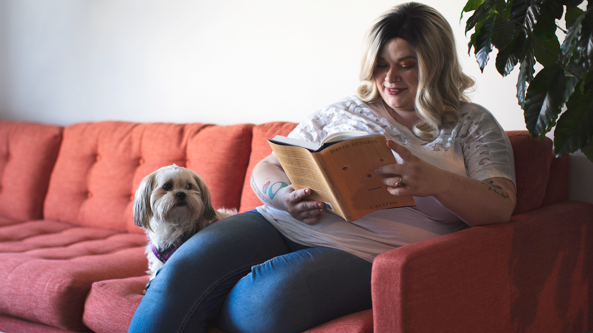 A woman sat on her sofa with her dog, reading a book.