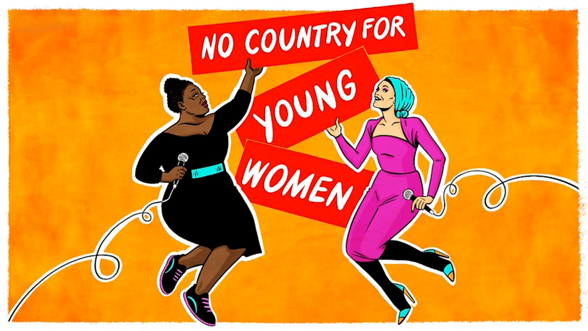 An illustration for the 'No Country For Young Women' podcast.