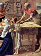 Mary, depicted dressed in blue, is kneeling among the wood shavings on the floor and being kissed on the cheek by the boy Jesus. Joseph is leaning over his workbench to hold the boy's hand. Joseph's woodworking tools are visible in the background