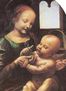 Mary, depicted as a girl in her teens, is smiling and showing a flower to the baby Jesus on her lap