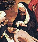 Mary, depicted in black garments, grieving over the body of Jesus, which has just been taken down from the cross