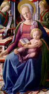 Mary, a seated woman with a disk of light encircling her head. She holds the baby Jesus on her lap