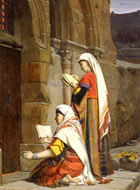 Two women in colourful Middle Eastern dress, barefooted and heads covered with shawls, kneel and stand at the entrance to a tomb. They seem to be praying with Bibles