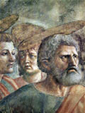 Peter, shown as a man with a grey beard and halo, with other disciples