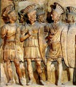 Roman soldiers in armour, shields and helmets