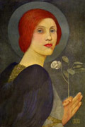 A red-haired angel with halo and dark wings, holding a white rosebud