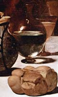Bread, water and wine in a detail from Caravaggio's painting of the Supper at Emmaus