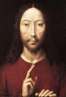 Jesus with his hand in a gesture of blessing, painted by Hans Memling