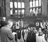 Enthronment of the Bishop of Coventry in the ruins of Coventry Cathedral, 1943