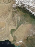 Satellite image of Indus river basin with modern international boundaries marked