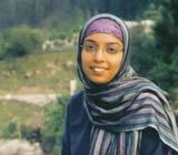 Shagufta Yaqub, in full Islamic headscarf, and Kashmir landscape