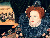 Queen Elizabeth I of England in a portrait commemorating the defeat of the Spanish Armada.  The ships are seen in the background