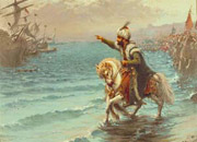 Sultan Mehmet II rides along the shoreline at the head of his cavalry, gesturing to some ships