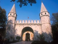 Main gate of the Topkapi Palace, defended by two watchtowers and crenellated wall