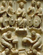 Ivory carving of David dictating the Psalms to scribes