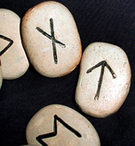 Stones with the runes Gebo (g), Tiwaz (t) and Ehwaz (e) carved into them