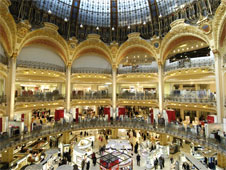 The luxurious interior of the Galeries Lafayette Department store Paris