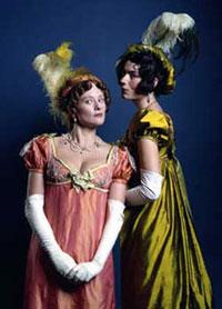 Wealthy women in evening gowns