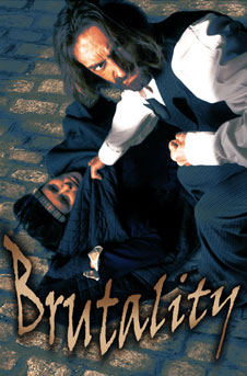 mr hyde crouches over a young girl, fist raised, the image title is 'brutality'