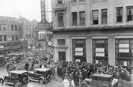 Crowds outside a closed bank