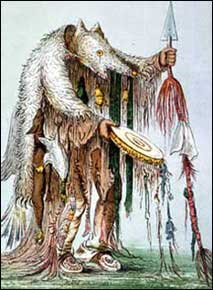 19th century drawing of native american shaman  dressed in bear skin