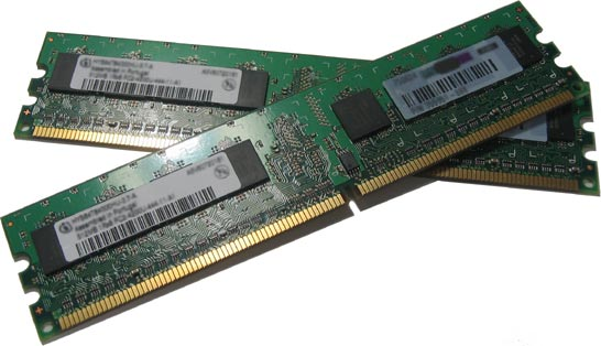 two RAM modules, green PCB (plastic circuit board) with gold contacts along one of the two longest sides