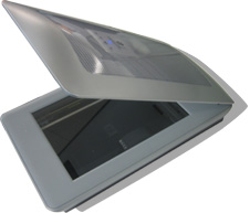 silver scanner with lid open