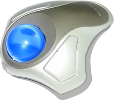 silver trackball with blue ball