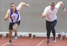 Two sprinters competing in a race