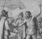 Christopher Columbus is greeted by natives when he lands on Cuba whilst exploring the New World.
