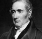A portrait of George Stephenson, who is called by some people 'the Father of the Railway'.
