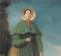 A portrait of Mary Anning with her faithful dog Tray, based on a portrait from 1842. The famous Golden Cap outcrop is visible in the background.