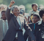 Nelson Mandela begins his long walk to freedom with his wife Winnie on the day he was finally released from Cape Town's Victor Verster prison.