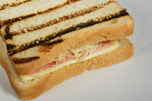 A croque monsieur - a toasted cheese and ham sandwich