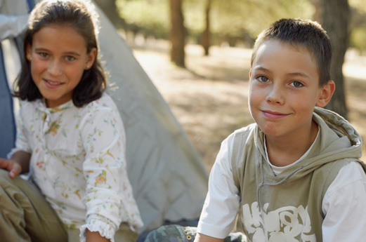 Sister and Brother camping