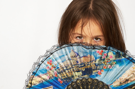 A girl with a fan
