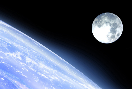 the moon and a planet