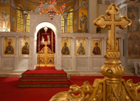 Interior of a Greek Orthodox church showing Christian iconographic images