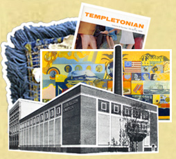 Photo montage showing Templeton's carpet factory, the Templetonian magazine, John Byrne's carpet mural and a bit of carpet.