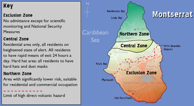Figure 3: This map shows the different zones that the island can be classified into, which include Exclusion, Central, and Northern.