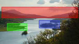 Colour view across Loch Tummel. Coloured boxes highlight the line of hills and mountains in the background, a line of trees in the middle distance and a small tree-covered hill near the middle of frame